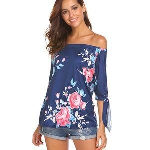 Tops - Off Shoulder Blouses 3/4 Sleeve Floral Print Top